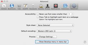 The advanced settings panel of desktop Safari on OSX.